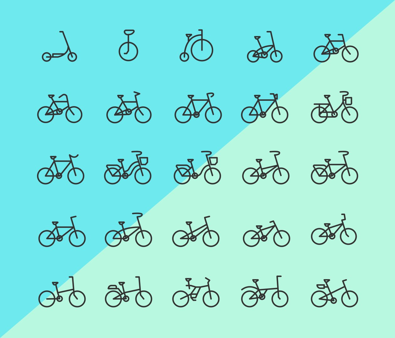 25-bicycle-line-vector-icons
