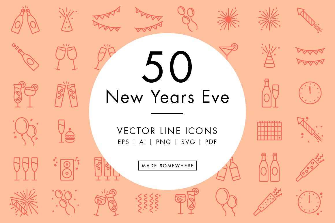 line-icons-new-years-eve
