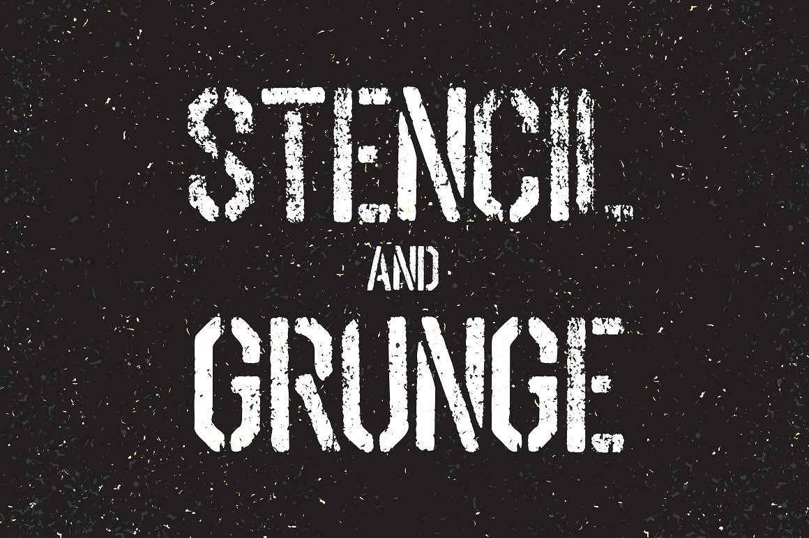 stencil-font-and-grunge-textures-set