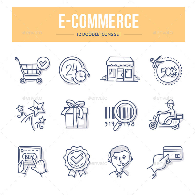 Doodle vector line icons set of shopping and e-commerce