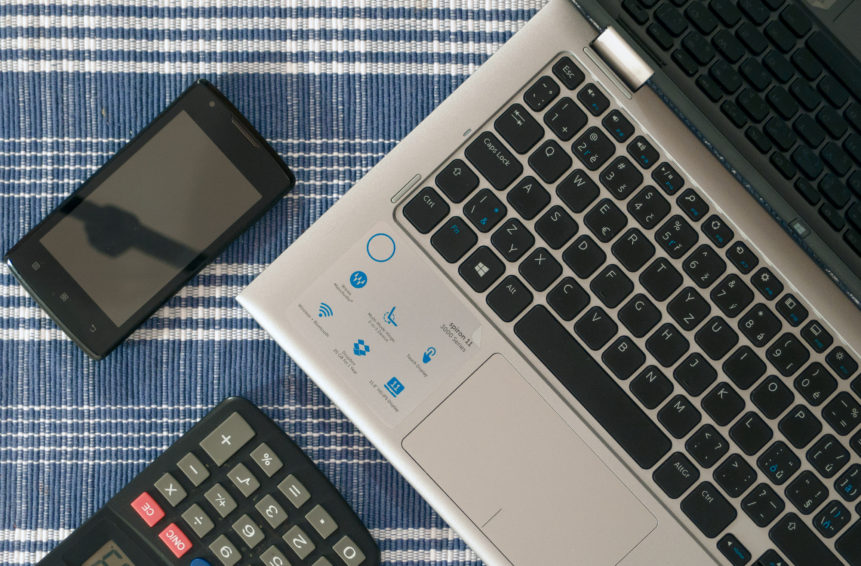 phone laptop calculator
