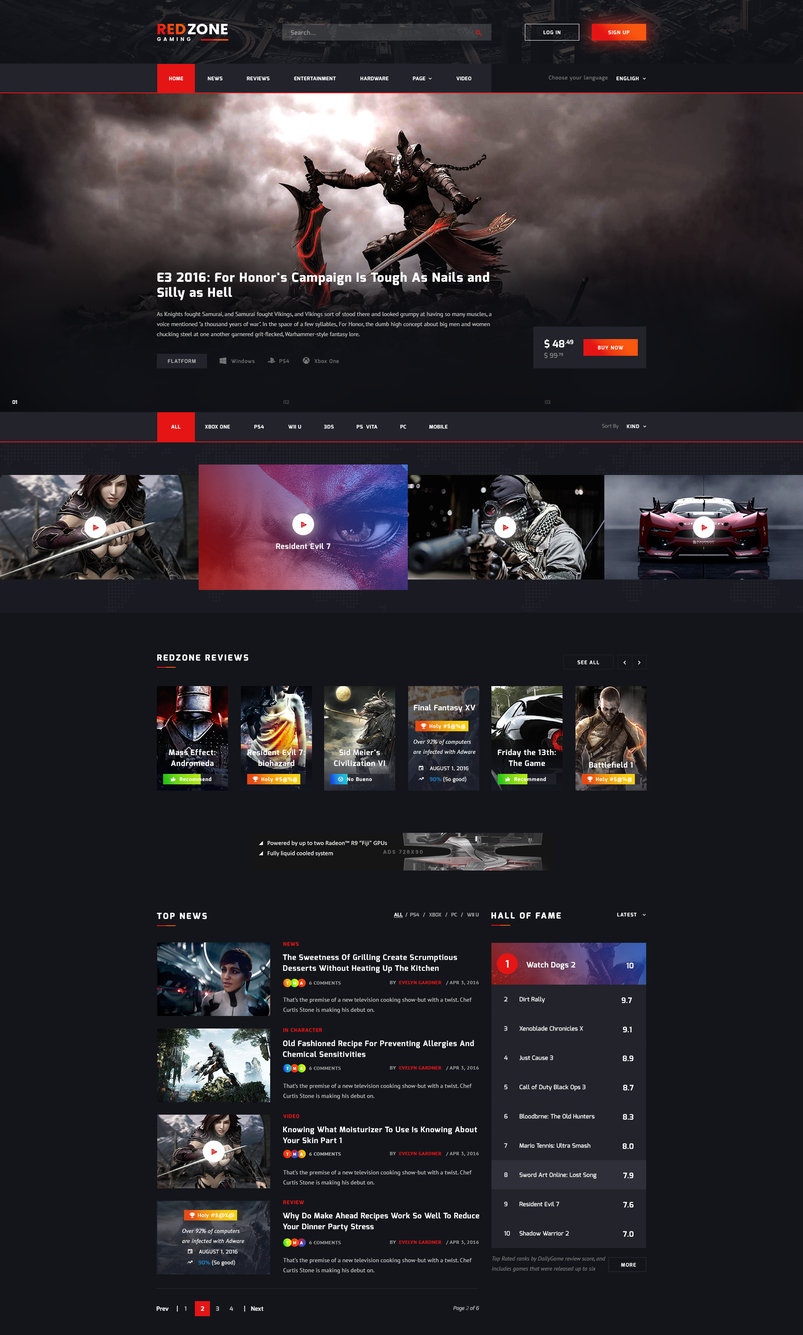 red zone game psd template blog review portal community 2