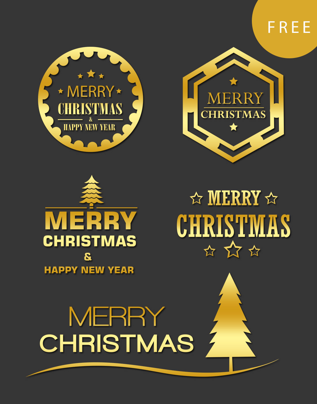 christmas gold long templates