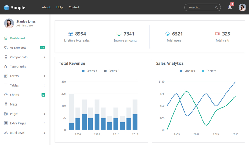 30 responsive html5 admin dashboard templates for Simple html admin template