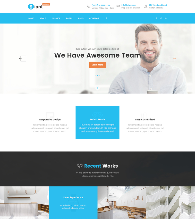 Latest creative website psd templates february 2017 designazure giant business is a corporate business agency startup psd template its a clean and beautifully designed psd template that is an ideal fit for business friedricerecipe Choice Image