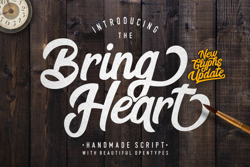 The Bring Heart Is Stylish Retro Modern Script It Comes With Lots Of Beautiful Opentype Features Very Good For Branding Projects