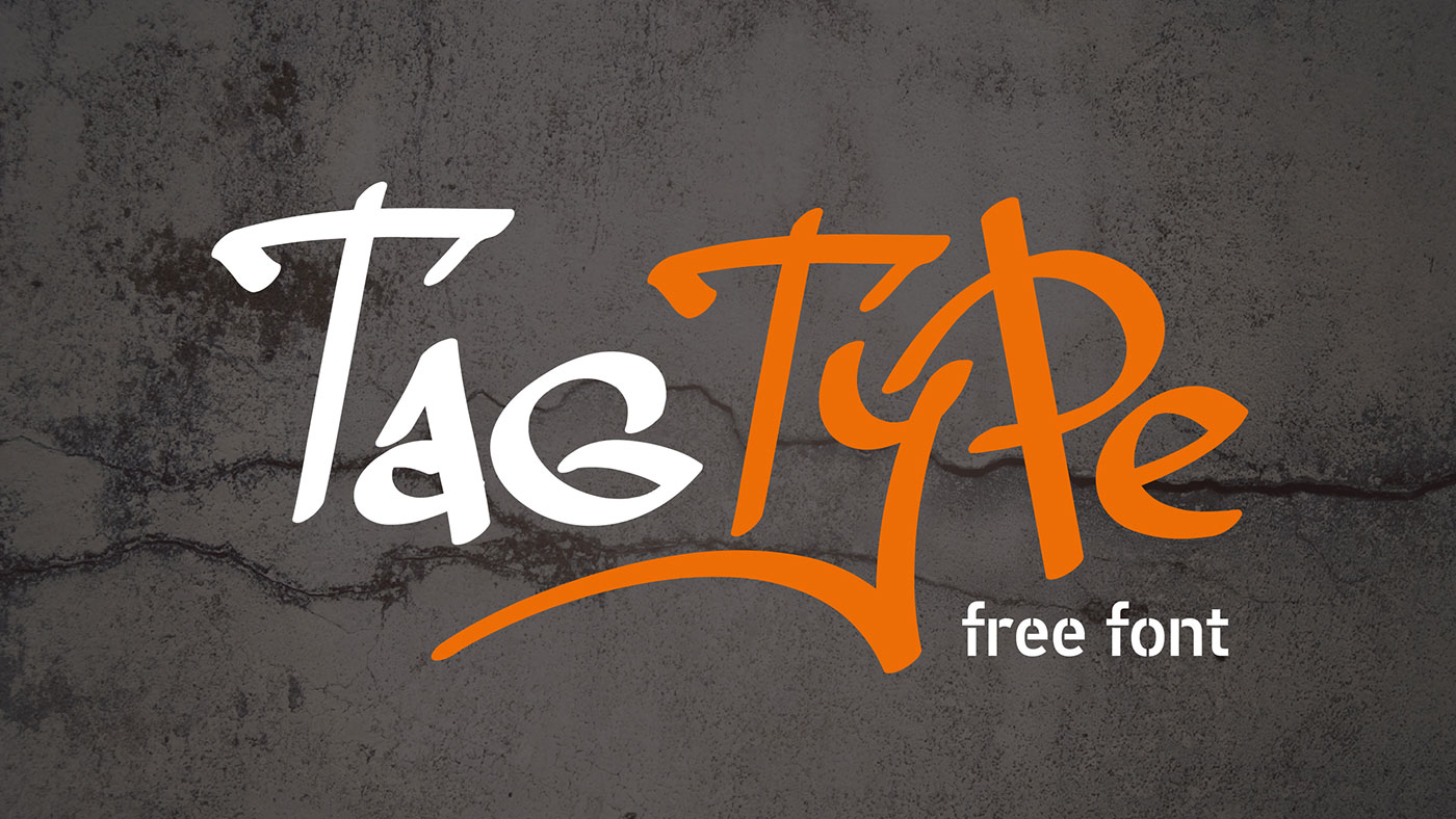 Tag type free font ideal for graffiti tags created by graphic designer